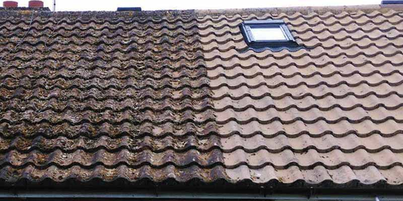 Roof clean before and after